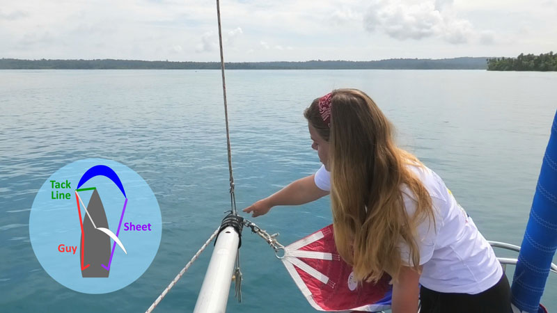 Using the spinnaker pole